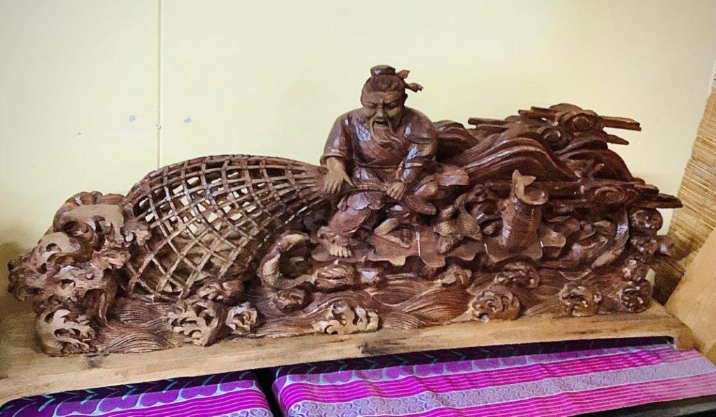 【木彫り 置物 漁師】